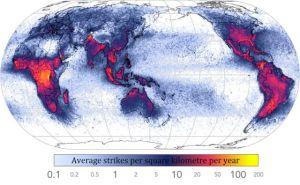 Lightning strikes around the world graphic.