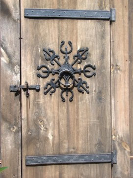 detail of Stave church on Washington Island, Wisconsin