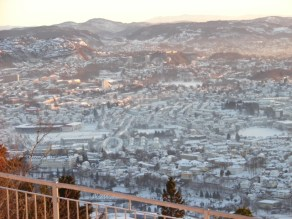 view of Bergen valley from Fløyen - January 14, 2010