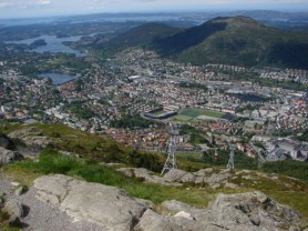 Ulriken views to the southern Bergen valley with Brann stadium and a cable car, looking towards Løvstakken - June 4, 2009, 10:38 am