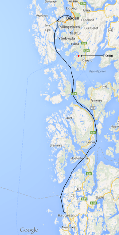 express boat route between Bergen and Haugesund
