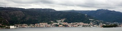 Sandviken in Bergen, Norway nestled into Sandviken Mountain/Sandviksfjellet (source)