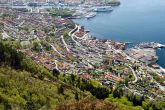 Sandviken in Bergen, Norway as seen from Sandviksfjellet, with a couple of the cruise ships visiting the mouth of the Bergen Harbor at the top of the photo (source)
