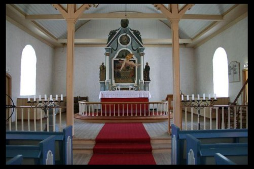 Hosanger church altar - photo credit kirkesok.no