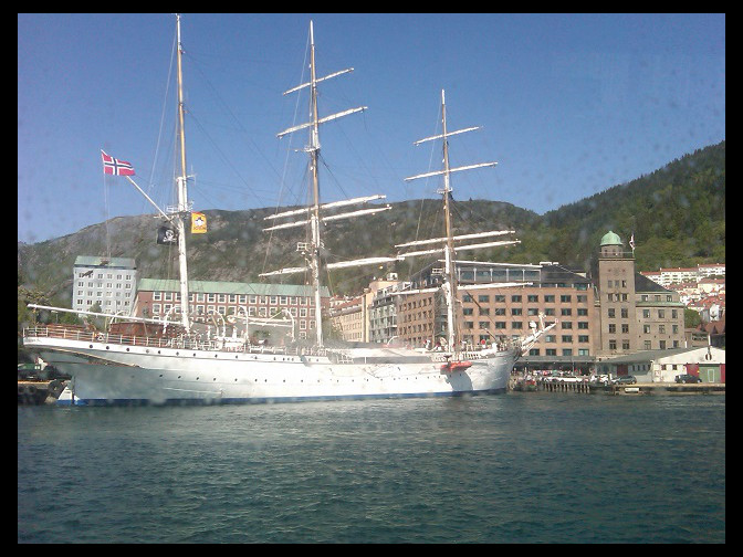June 6, 2010 - Statsraad Lehmkuhl through a fjord-splashed boat window