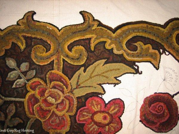 Large rug hooked leaves