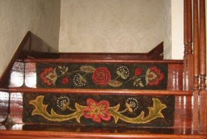 rug hooked stair risers installed on stairs