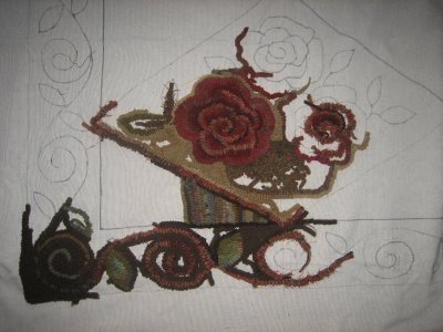 Antique rose basket rug hooking pattern