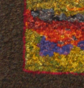 Closeup of rug hooking