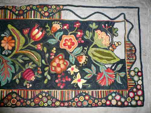 #301 Antique Floral Runner hooked by Katie Fishbune