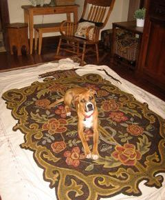 Jackson on my room sized rug, center complete