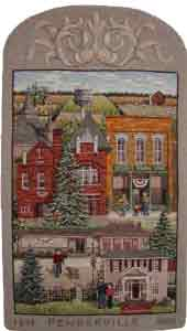rughooked pictorial Village of Pemberville by Cindi Gay