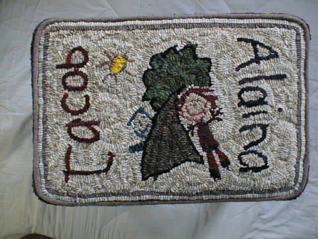 Ally's rug hooked footstool