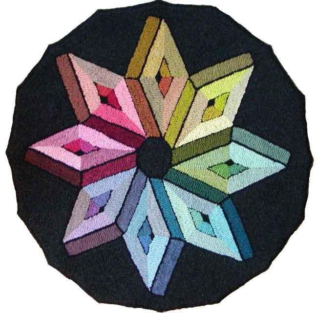 Color Wheel hooked rug