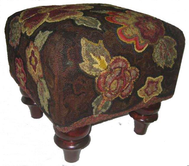 Pocketful rug hooked footstool