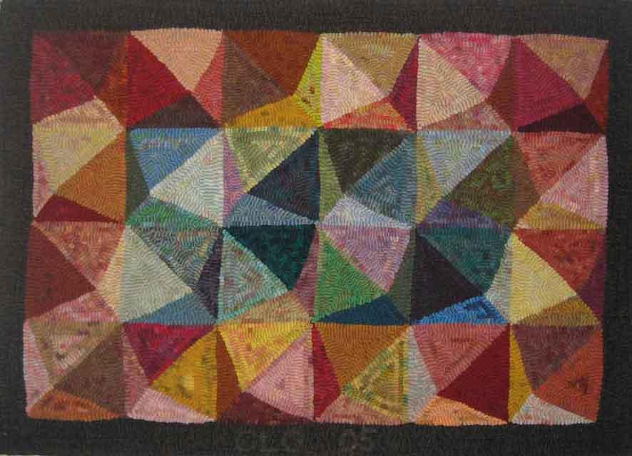 Pyramids hooked rug