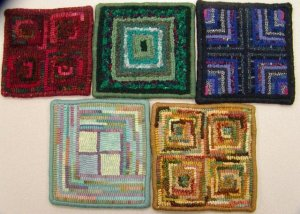 Beginner squares hooked by the Sylvania, OH rug hooking group