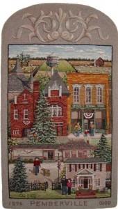 Village of Pemberville hooked rug