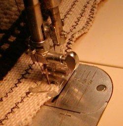 Finishing: Zig zag the cut edge of a hooked rug