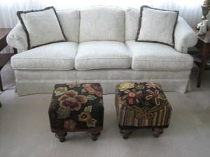 2 hooked footstools by Pat Mensing