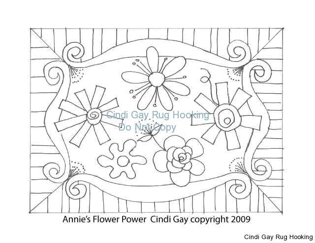Annie's Flower Power Rug hooking pattern