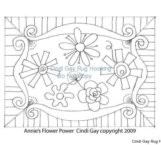 Annie's Flower Power Rug hooking pattern