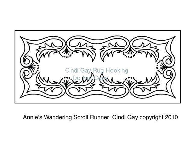 Annie's Wandering Scroll Runner Rug hooking pattern