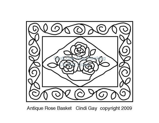 Antique Rose Basket - large Rug hooking pattern