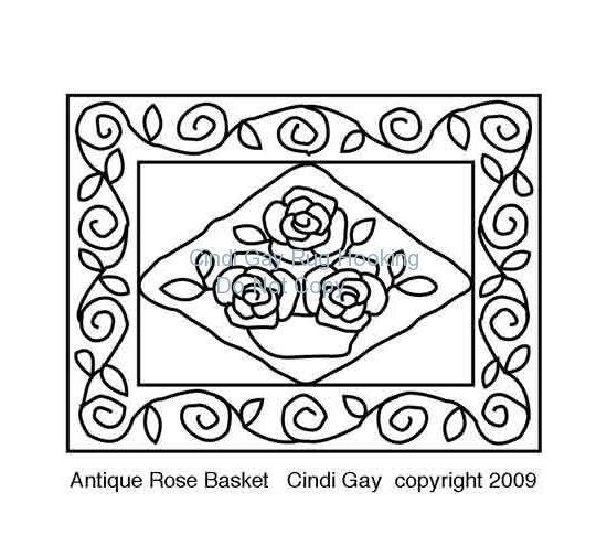 Antique Rose Basket - large Rug hooking pattern