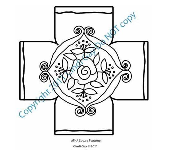 Rug hooking pattern for footstool Rose Scroll