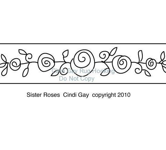 Sister Roses stair riser rug hooking pattern