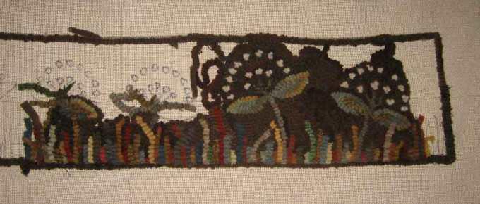 Field of Queens rug hooking pattern in progress