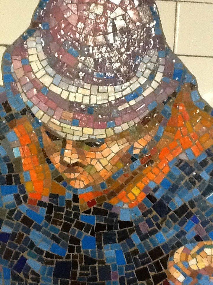 Tile art NYC subway man's face closeup