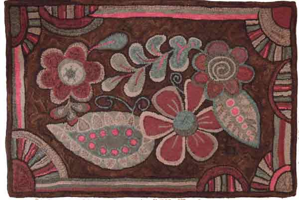 Floral Tangle rug hooking pattern, designed by Cindi Gay