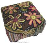 Rug Hooked footstool: Annie's Flower Power Footstool - Square