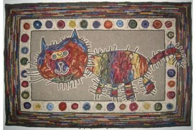 Ally's Cat hooked by Cindi Gay designed by Alaina Siler
