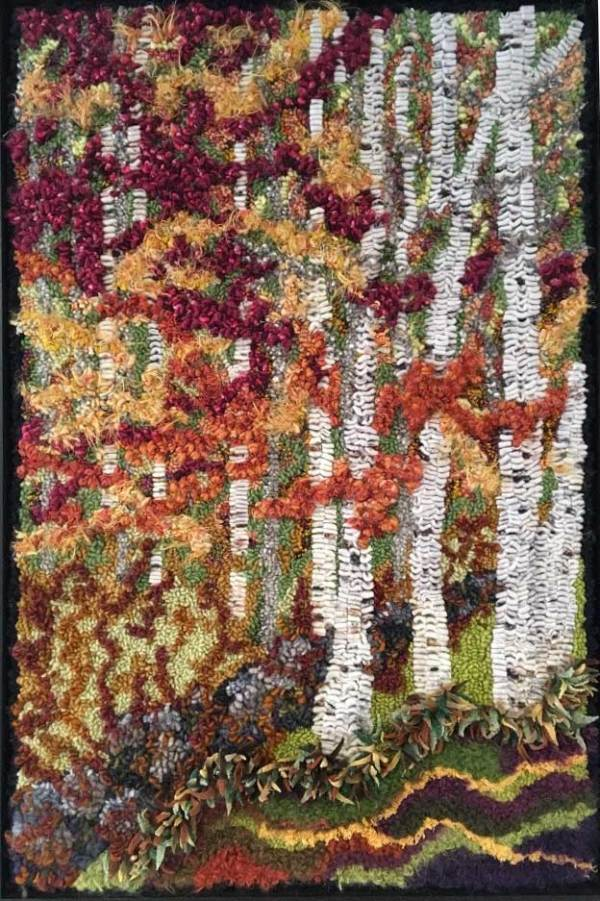 Birch trees hooked by Diane Climp using Cindi Gay's hand dyed birch bark wool