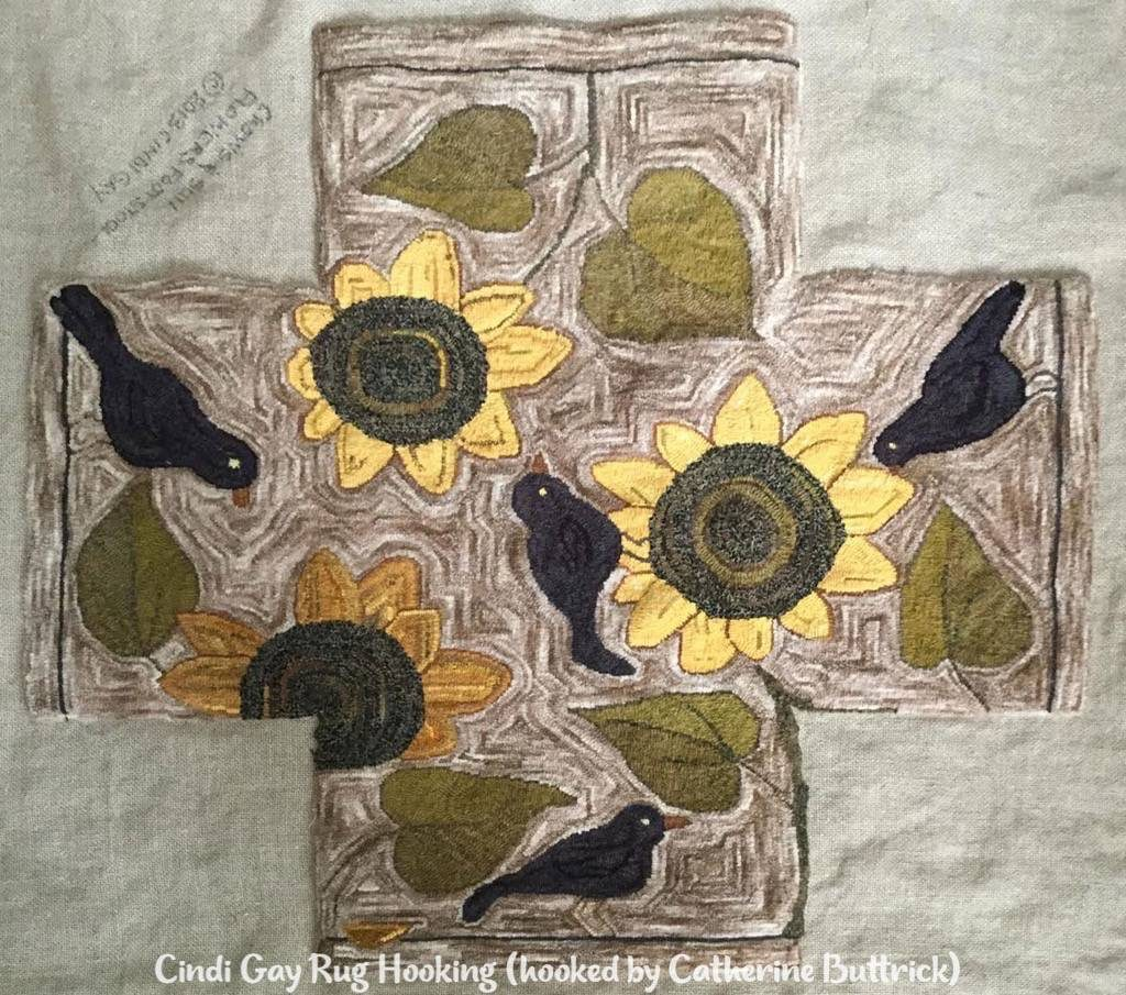 Crows and sunflowers rug hooked footstool