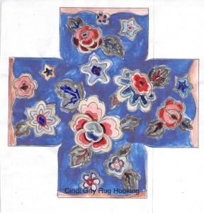 Color plan to rug hook Square Pocketful pattern