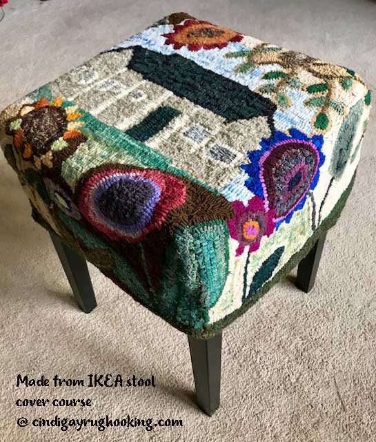 IKEA stool hooked from online course offered by Cindi Gay
