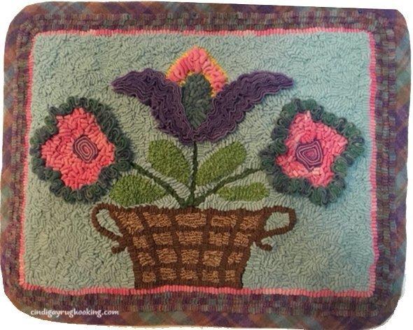 """Yellow Basket"" by Edyth O'Neill, hooked by Wanda Burleson. Teacher: Martha Lowry class in Tyler, Texas"