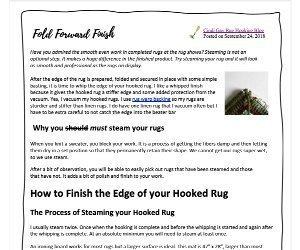 Fold Forward Rug Hooking Finishing Instructions PDF