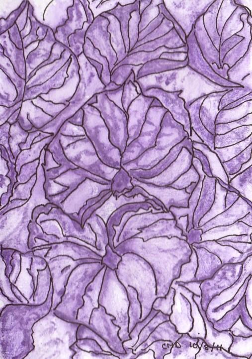 drawing of purple leaves