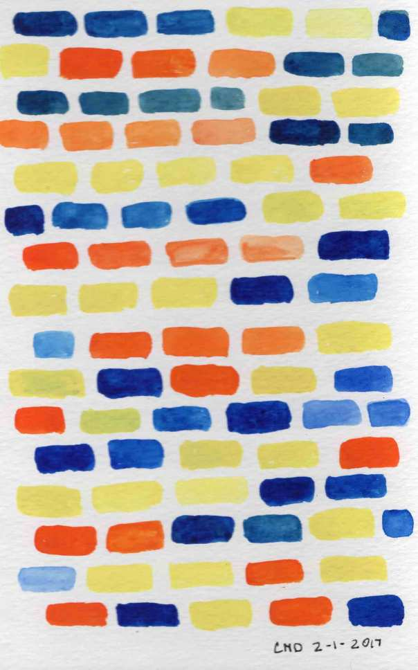 Watercolor painting of colored brick