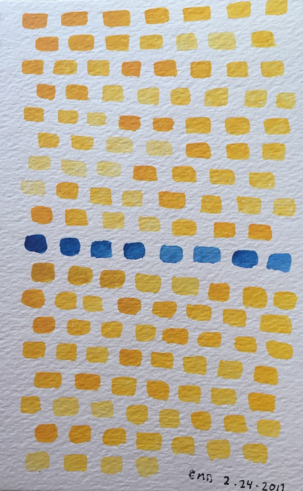 Watercolor painting of yellow and blue bricks