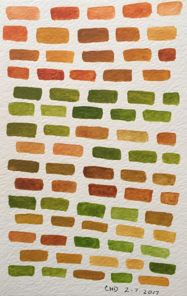 Watercolor painting of brown and green bricks