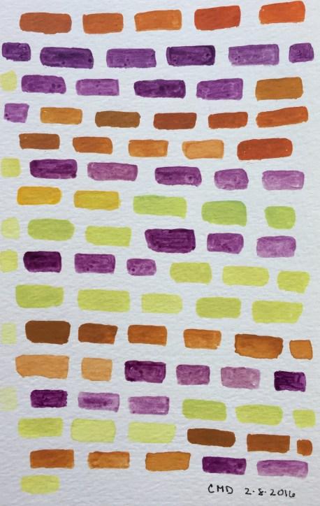 Watercolor painting of purple bricks