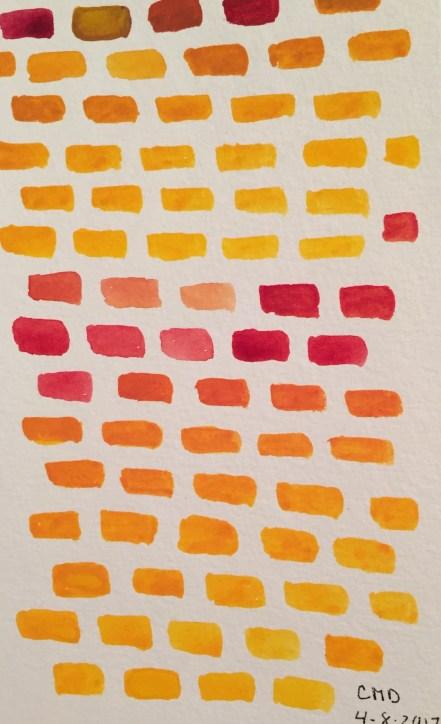 Watercolor painting of yellow bricks