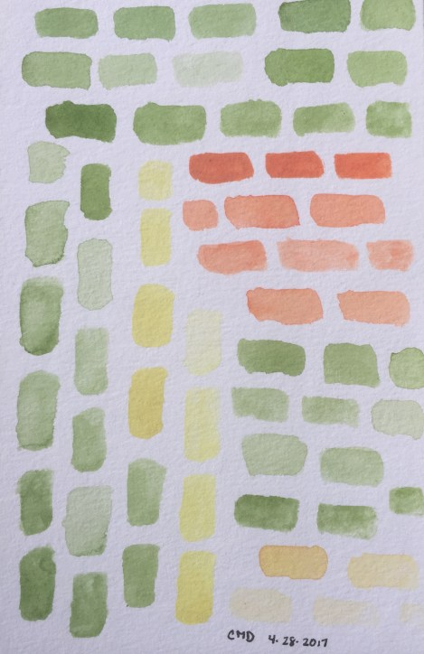 Watercolor painting of green and orange bricks