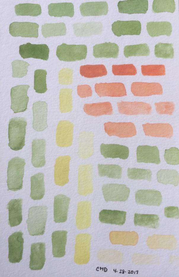 Watercolor painting of green and orange bricks